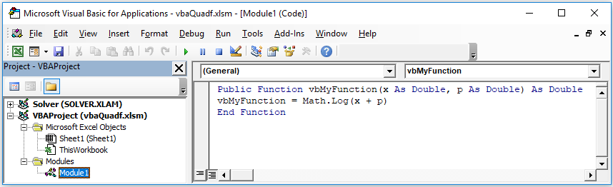 Excel derivative function